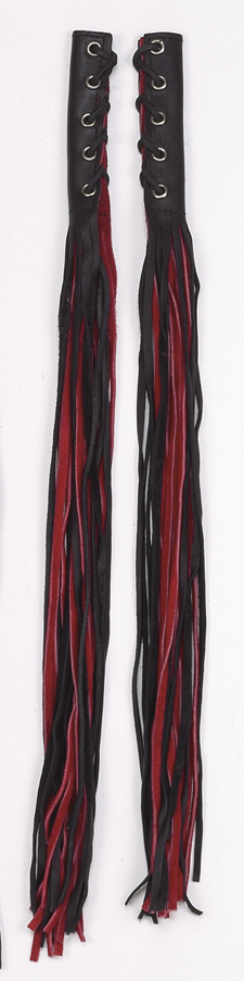 Red/Black Leather Motorcycle Fringed Lever Covers