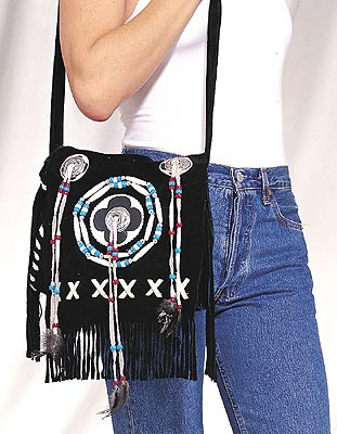 Ladies pocket book with bones, beads and fringes