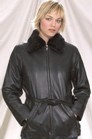 Ladies jacket with removable collar fur with belt