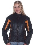 Ladies black & orange leather racer jacket