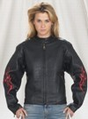 Ladies motorcycle jacket with flame