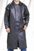 Mens black duster zipout lining, leg straps, removable leather cape