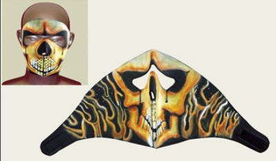 Skull Fire Face mask with velcro strap on back