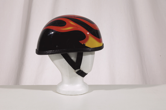 H2401<br>Eagle shiny novelty helmet with flame Y-strap, Q-release