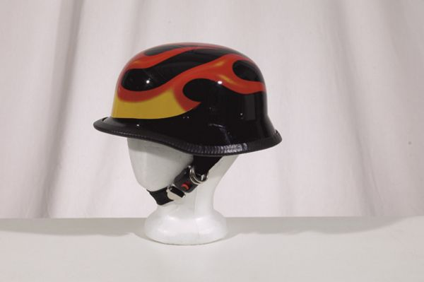 2402<br>German shiny novelty helmet with flame Y-strap, Q-release