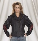 Ladies Naked Cowhide Motorcycle Jacket with flame