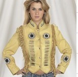 Ladies jacket with beads, bone, braid