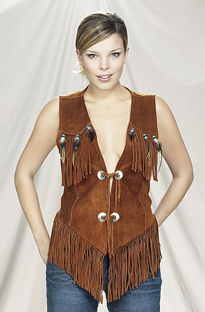 Ladies western vest with fringe and beads