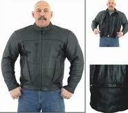 Mens Leather Motorcycle Jacket with zipout lining