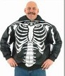Mens Top Grade Soft Leather Skeleton w/ Skull Hood