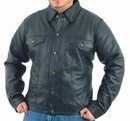 Mens leather shirt with buttons