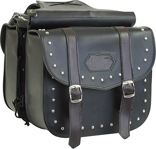 PVC SADDLEBAG WITH STUDS & BROWN STRAPS